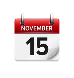 November 15 flat daily calendar icon vector