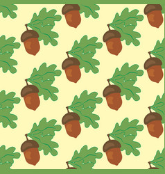 Oak leaf and acorn seamless pattern vector