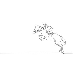 One single line drawing young horse rider man vector