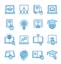 online education flat line icon set vector image