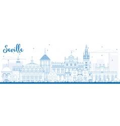 Outline Seville Skyline with Blue Buildings vector