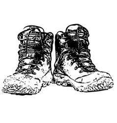 Pair of dirty boots isolated on white vector
