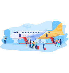 Passengers boarding airplane people at airport vector
