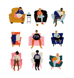 people sitting at home in comfortable armchair set vector image