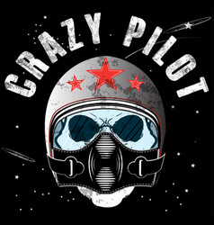 pilot skull t shirt graphic design vector image