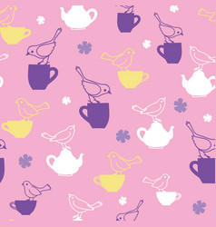 Pink birds and teapots repeat pattern vector