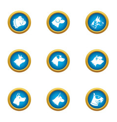 Pooch icons set flat style vector