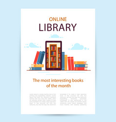 Poster online library a mobile phone with library vector