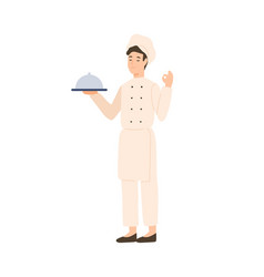 professional male chef holding serving plate vector image