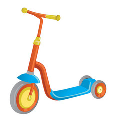 Roller scooter balance bike cartoon cute color vector