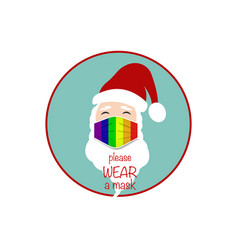 Santa claus head wear lgbt colorful surgical mask vector