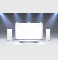 Scene show podium for presentations on grey vector