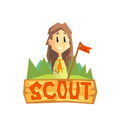 scout banner template scouting girl with flag vector image