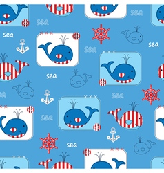 Seamless pattern with whales 2 vector image