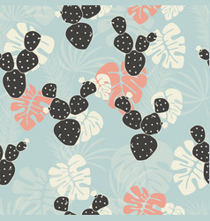 seamless tropical pattern with monstera vector image