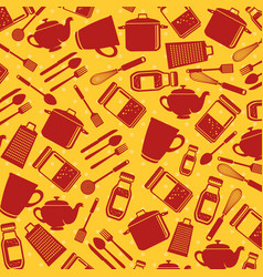 set kitchen utensils pattern background vector image
