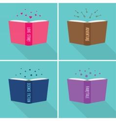 Set of fiction genre icons vector image