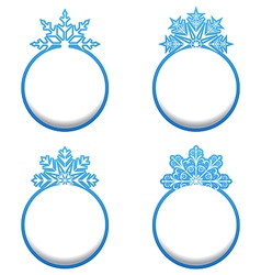 Set of variation label with snowflakes isolated vector