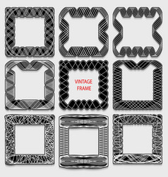 set of vintage calligraphic frames black lines on vector image