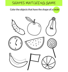 shapes matching game educational task for kids vector image