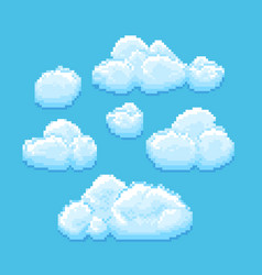 Sky with clouds pixel art cloudscape vector