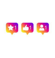 social media modern like 1 follower 1 comment 1 vector image