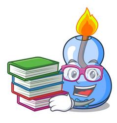 Student with book alcohol burner mascot cartoon vector