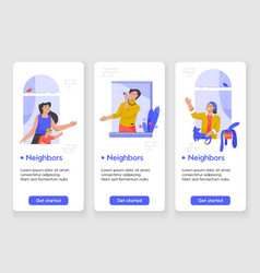 template design for mobile app page with neighbors vector image