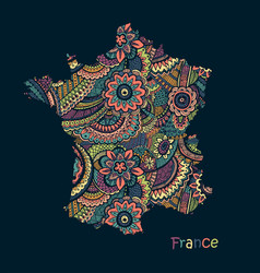 textured map france hand drawn ethno vector image