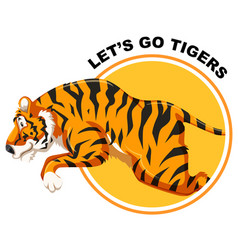tiger on sticker template vector image