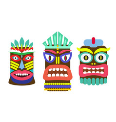 tiki mask cartoon set vector image