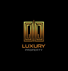 urban elite property logo with metal silver color vector image