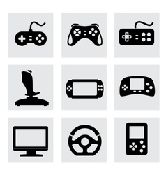 video game and joystick icons set vector image