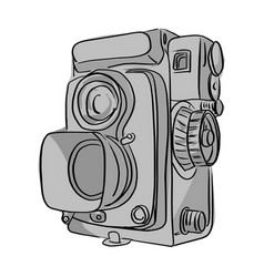 vintage camera with black lines vector image