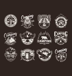 vintage summer camping logos vector image