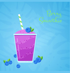 violet fresh blueberry natural smoothie cocktail vector image
