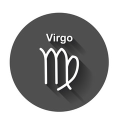 virgo zodiac sign flat astrology with long shadow vector image