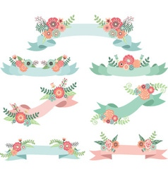 Wedding Flora with Banners vector