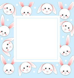 White rabbit on light blue banner card vector
