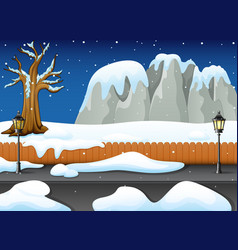 winter night landscape with snowy rocks and snow o vector image