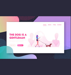 woman walking with dog website landing page vector image