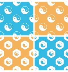 Ying yang pattern set colored vector