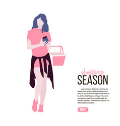 young woman buing food holding shopping bascket vector image