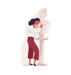 young woman hugging statue of man concept of vector image