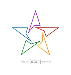 Abstract rainbow thin star design element on white vector image vector image