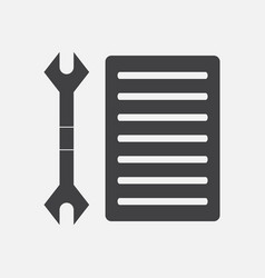 Black icon on white background wrench and grille vector