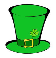 green leprechaun cylinder hat icon icon cartoon vector image