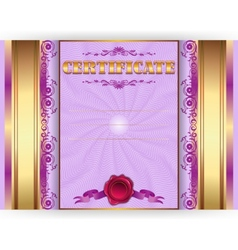 Horizontal royal gold certificate with lace ornate vector image