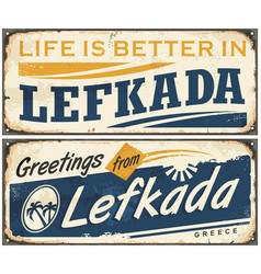 Lefkada vintage tin sign vector