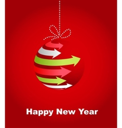typographic xmas balls on the red background vector image vector image